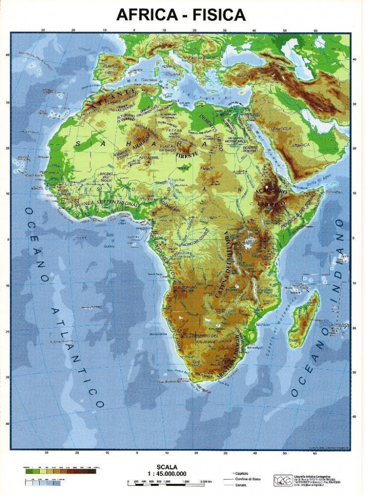 Africa Cartina Fisica E Politica.Africa Fisica Politica Carta Scolastica Da Banco