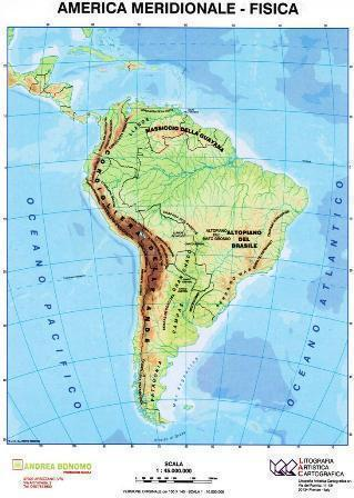 Cartina Fisica America Meridionale.America Meridionale Politica Fisica Carta Scolastica Da Banco