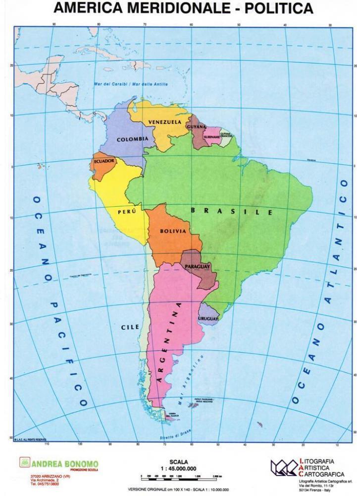 Cartina America Meridionale Politica.America Meridionale Politica Fisica Carta Scolastica Da