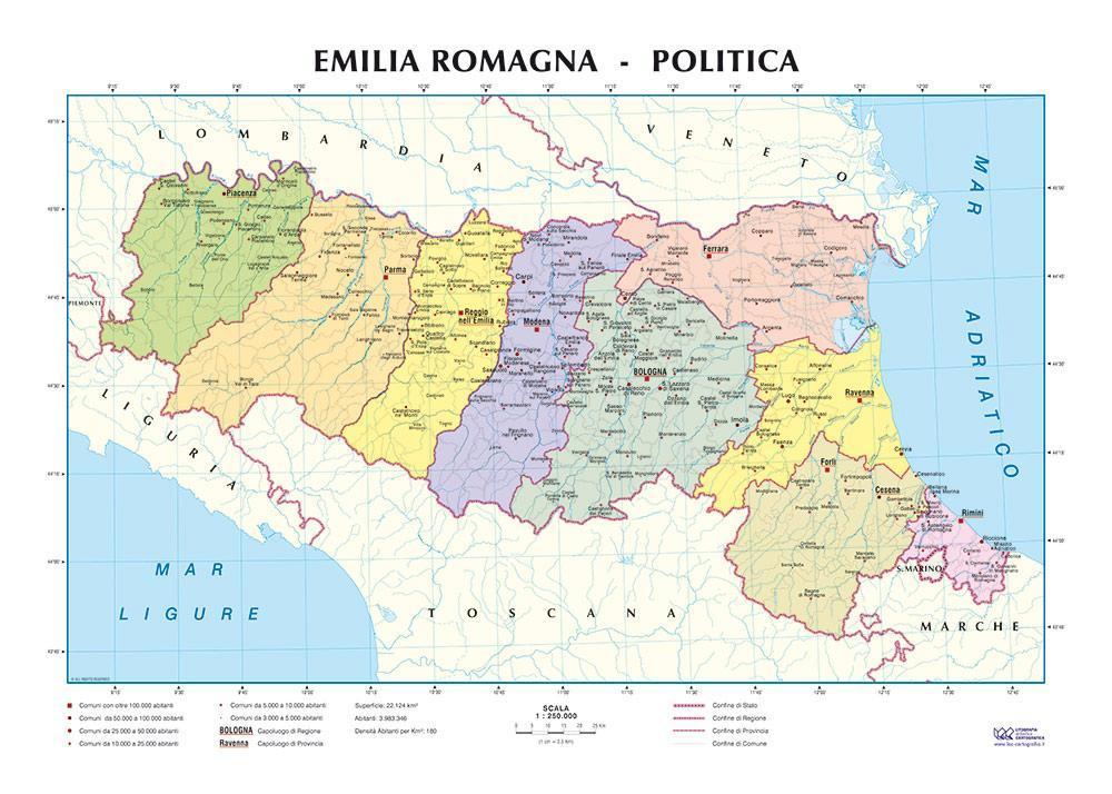 Cartina Politica Romagna.Emilia Romagna Carta Scolastica Murale