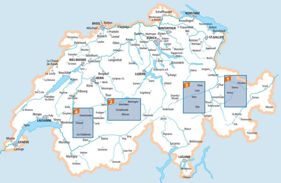 Davos, Klosters ski map
