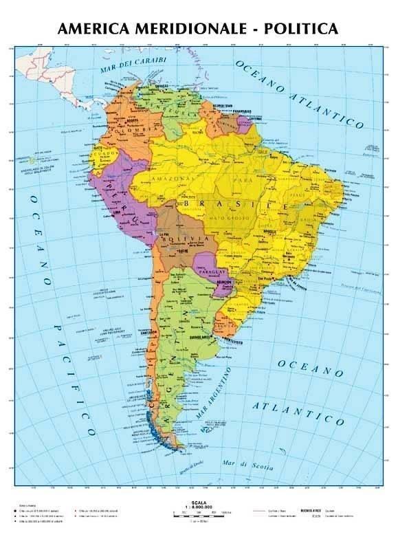 Cartina America Meridionale Politica.America Meridionale Carta Murale Scolastica