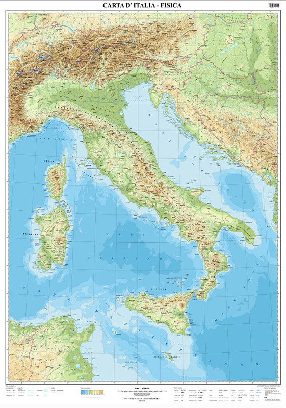 carta d u0026 39 italia fisica  murale