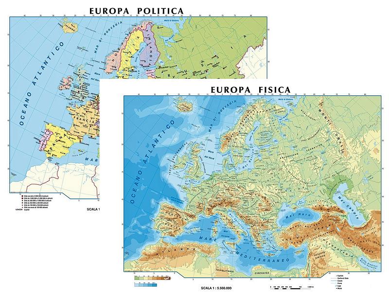 Europa carta scolastica murale