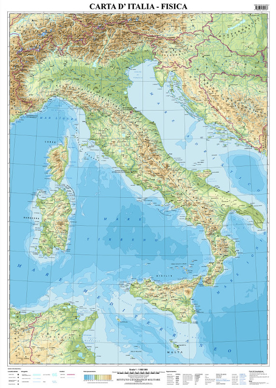Cartina Fisica Italia Golfi.Carta D Italia Fisica Murale