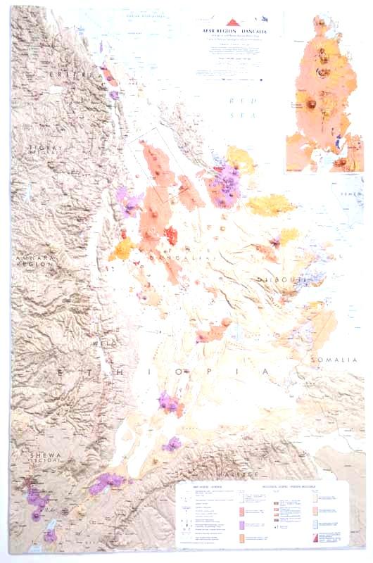 Dancalia Afar Region - carta in rilievo senza cornice