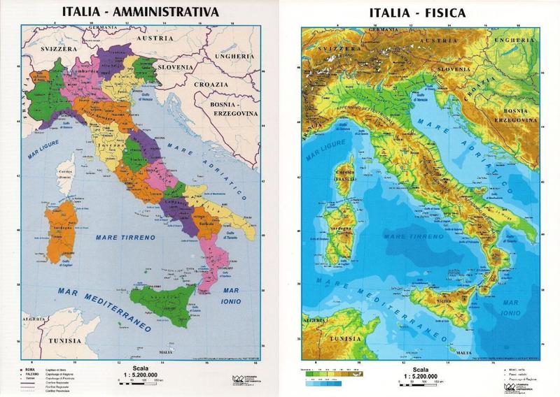 Cartina Fisica Italiana.Italia Fisica Politica Carta Scolastica Da Banco