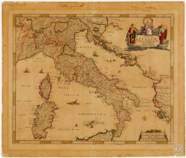 E8 - TABULA ITALIAE, CORSICAE, SARDINIAE ET ADIACENTIUM REGNORUM AMSTELREDAMI, APUD FREDERICUM DE WIT