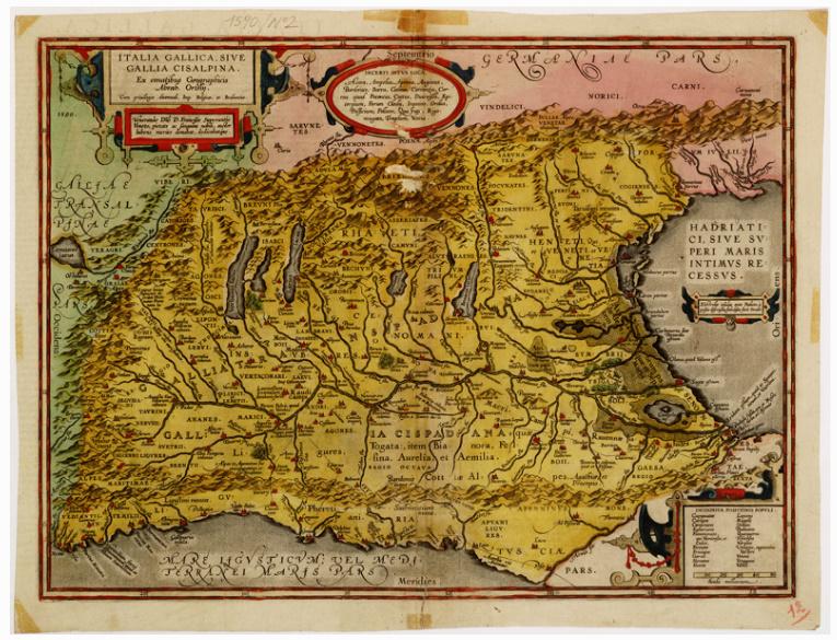 E2 - ITALIAE GALLICA SIVE GALLIA CISALPINA, EX CONATIBUS GEOGRAPHICIS ABRAH. ORTELIJ