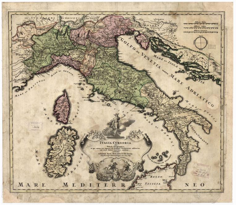 D6 - ITALIA CURSORIA SEN TABULA GEOGRAPHICA INQUA OMNES VIAE ANGARIAE ET STATIONES VEREDARIORUM ORDINARIAE, PER TOTAM ITALIAM CURSORIBUS CONSTITUTAE EXHIBENTUR A JOANNE BAPT.