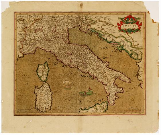 D5 - CARTA D'ITALIA DELL'ATLANTE DEL MERCATORE - ITALIA - TAVOLA 298