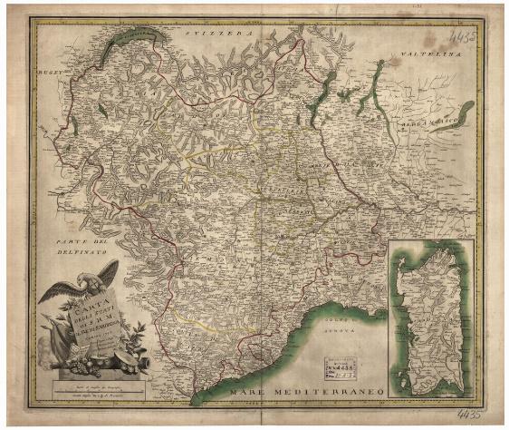 B1 CARTA DEGLI STATI DI S. R. M. IL RE DI SARDEGNA TORINO, 1792. PRESSO I LIBRAI ORGEAS E FIGLI FERRERO E POMBA, BELTRAMO ANTONIO RE