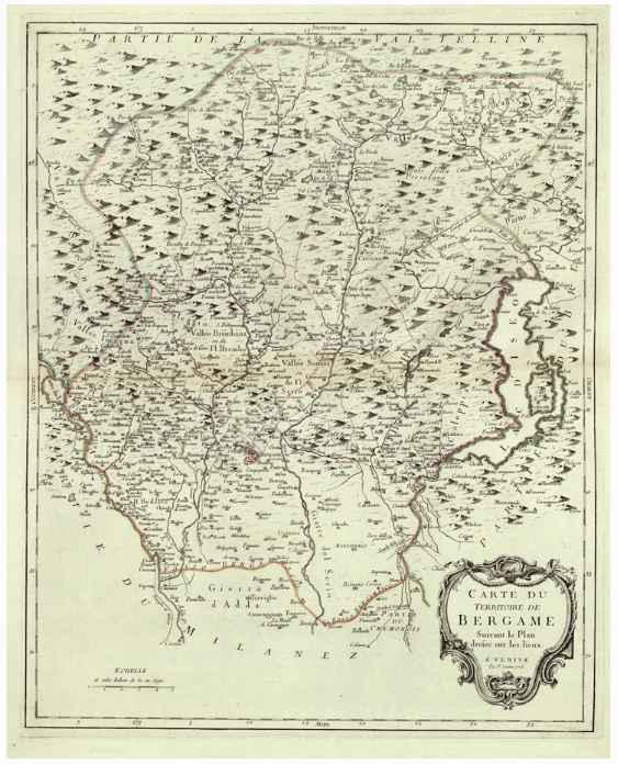 B12 - CARTE DI GEOGRAFIA-ATLANTE DEL SANTINI - FOGLIO 5-CARTE DU TERRITOIRE DE BERGAME SUIVANT LE PLAN DRESSE' SUR LES LIEUX. A VENISE, 1776. P. SANTINI