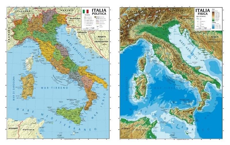 Cartina Italia Fisica Politica.Italia Politica Fisica Plastificata Scolastica Carta Geografica Murale
