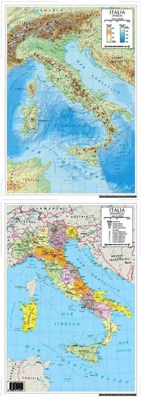 Cartina Fisica E Politica.Italia Fisica Politica Carta Scolastica Da Banco