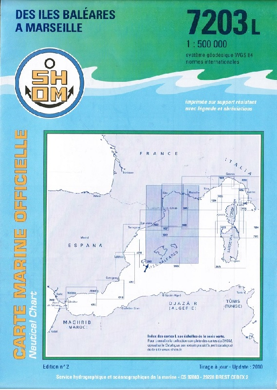 SHOM 7203L Des îles Baléares à Marseille